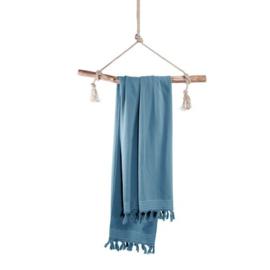 Luxe Hamamdoek/Strandlaken, 1 zijde in badstof, petrol blauw, met of zonder naamborduring