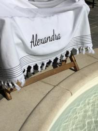 Luxe Hamamdoek/Strandlaken, 1 zijde in badstof, wit met of zonder naamborduring