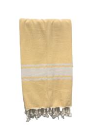 Luxe Hamamdoek/Strandlaken, 1 zijde in badstof, geel, met of zonder naamborduring