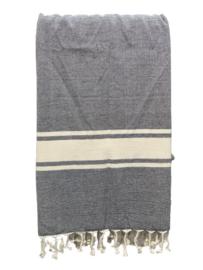 Luxe Hamamdoek/Strandlaken, 1 zijde in badstof, zwart, met of zonder naamborduring