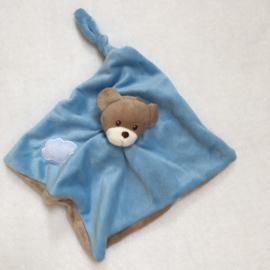 Knuffeldoekje mini, blauw, met of zonder naamborduring