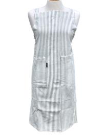 """Keukenschort """"Linen & More"""", gestreept gebroken wit/grijs, met of zonder naamborduring"""