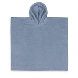 Poncho in badstof, 2-5j, grijs-blauw, met of zonder naamborduring