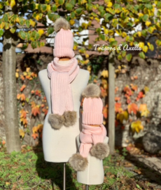 """Set """"Mum & Kids"""" muts + sjaal met afneembare pompon in faux fur, 4 st, roos"""