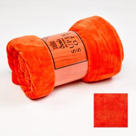 Fleecedeken 130x170 fel orange + 1 naam geborduurd