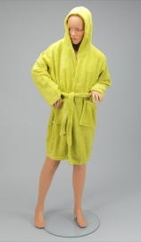 Kinder kamerjas fleece, limoen 4/6 jaar  + 1 naam geborduurd