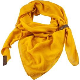 "Sjaal ""LOT83"", Puk, driehoekig oker geel"