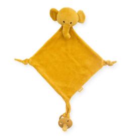 """Speendoekje """"jollein"""" olifant mosterd geel, met of zonder naam geborduurd"""