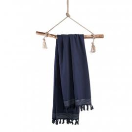 Luxe Hamamdoek/Strandlaken, donker blauw + 1 naam geborduurd