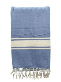Luxe Hamamdoek/Strandlaken, 1 zijde in badstof, blauw, met of zonder naamborduring