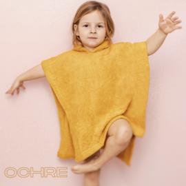 Poncho in badstof, 2-5j, oker geel, met of zonder naamborduring