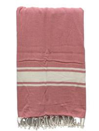 Luxe Hamamdoek/Strandlaken, 1 zijde in badstof, rood, met of zonder naamborduring