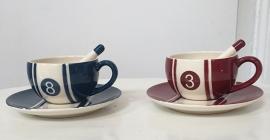 Set espresso tasjes (3 blauw + 3 rood)
