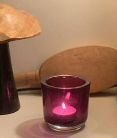 T-lichthouder,  dik glas, aubergine