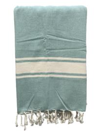 Luxe Hamamdoek/Strandlaken, 1 zijde in badstof, groen, met of zonder naamborduring