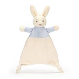 """Knuffeldoekje """"Jellycat"""" Star blue bunny + 1 naam geborduurd"""