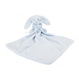 """Knuffeldoekje konijn """"Jellycat"""" licht blauw + 1 naam geborduurd"""