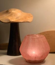 T-lichthouder, glas, oud roos, Medium