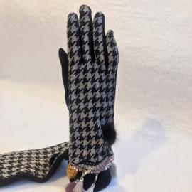 Handschoenen zwart 'Pied de poule'