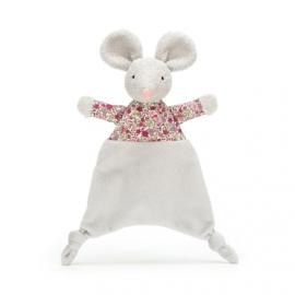 """Knuffeldoekje """"Jellycat"""" floral mouse + 1 naam geborduurd"""