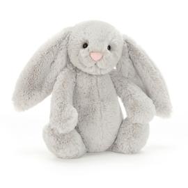 """JELLYCAT"" Bashful Bunny, silver, met of zonder naam"