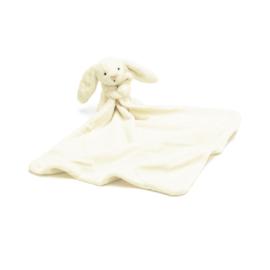 """Knuffeldoekje konijn """"Jellycat"""" gebroken wit + 1 naam geborduurd"""