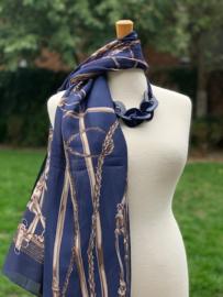"Sjaal ""Chartage"", rechthoekig blauw, 100% silk"