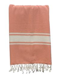 Luxe Hamamdoek/Strandlaken, 1 zijde in badstof, oranje, met of zonder naamborduring