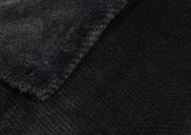 """Fleecedeken """"Calin"""" 130 x 170 zwart met of zonder naam geborduurd"""