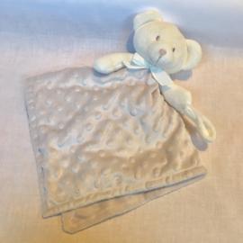 Knuffeldoekje, licht grijs, beer met of zonder naamborduring