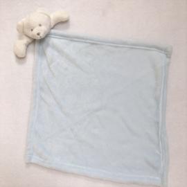Knuffeldoekje, maxi lichtblauw beer + 1 naam geborduurd
