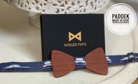 "Houten vlinderdas ""Noeuds Pap's"", in padoek"