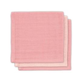 """""""Jollein"""" 3 Hydrofiele monddoekjes 31x31cm, pale pink, bamboe/katoen"""