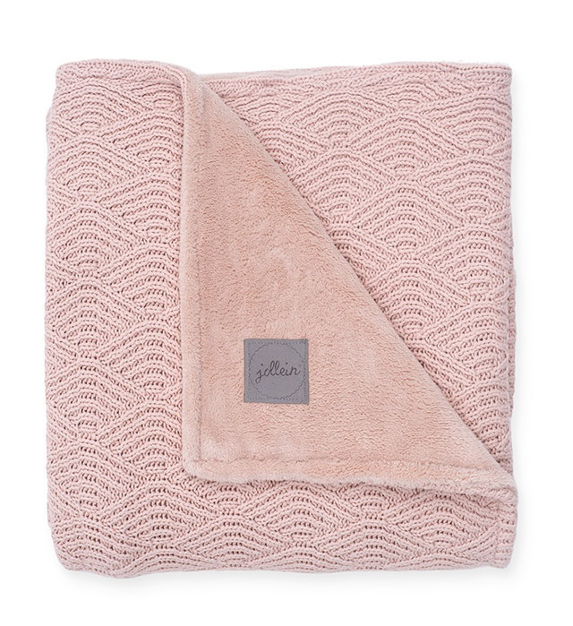 """""""Jollein"""" Baby Deken River Knit 75x100cm, Pink/Coral fleece, met of zonder naamborduring"""