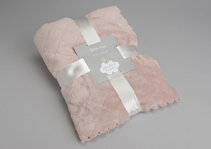 Mini fleece dekentje licht roos