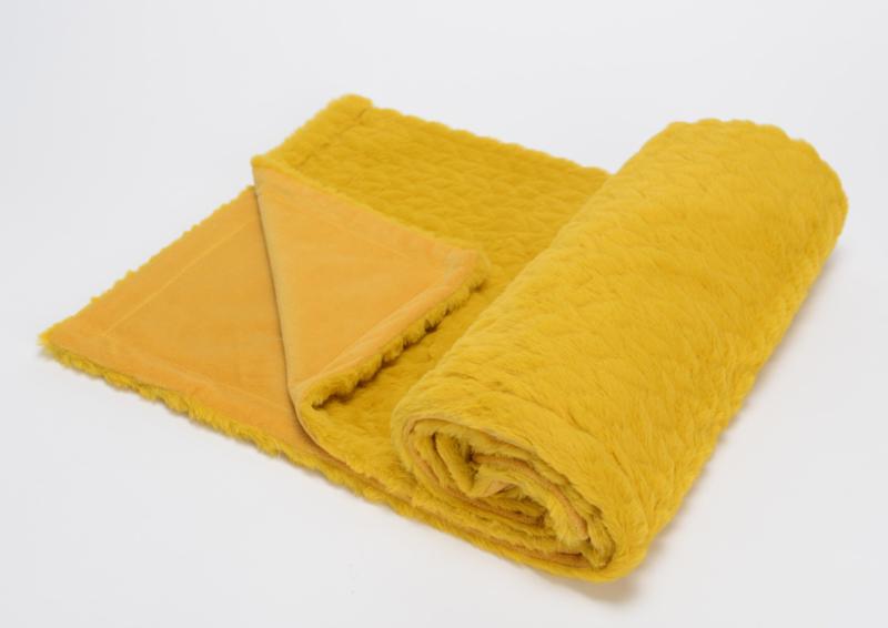 Baby fleecedekentje, mosterd geel, vintage met of zonder naamborduring