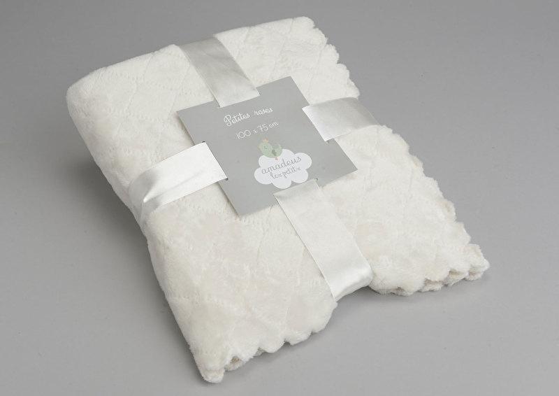 Mini fleece dekentje gebroken wit