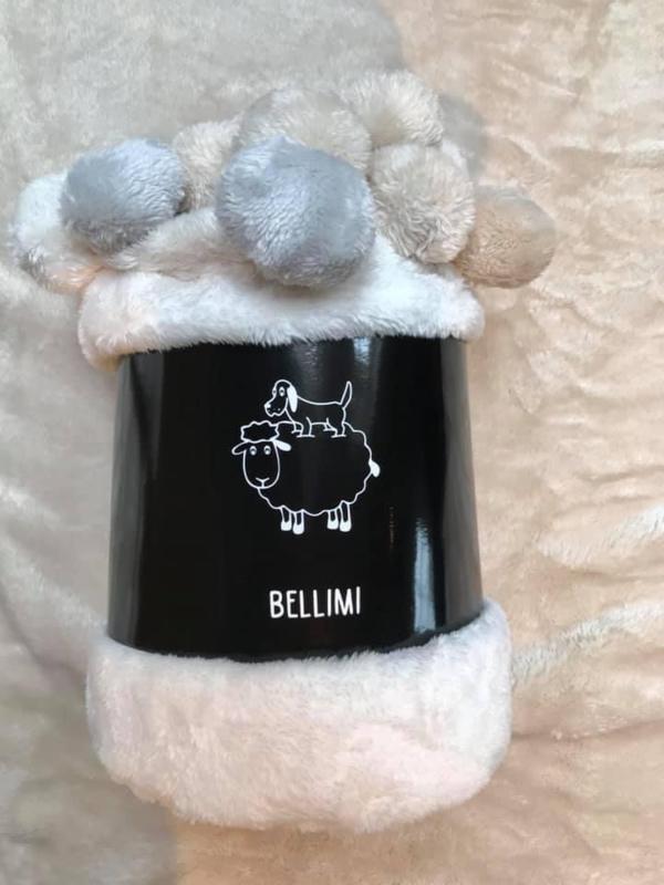 """""""Bellimi"""" Fleecedeken met pompons,130x150, licht grijs met of zonder naamborduring"""