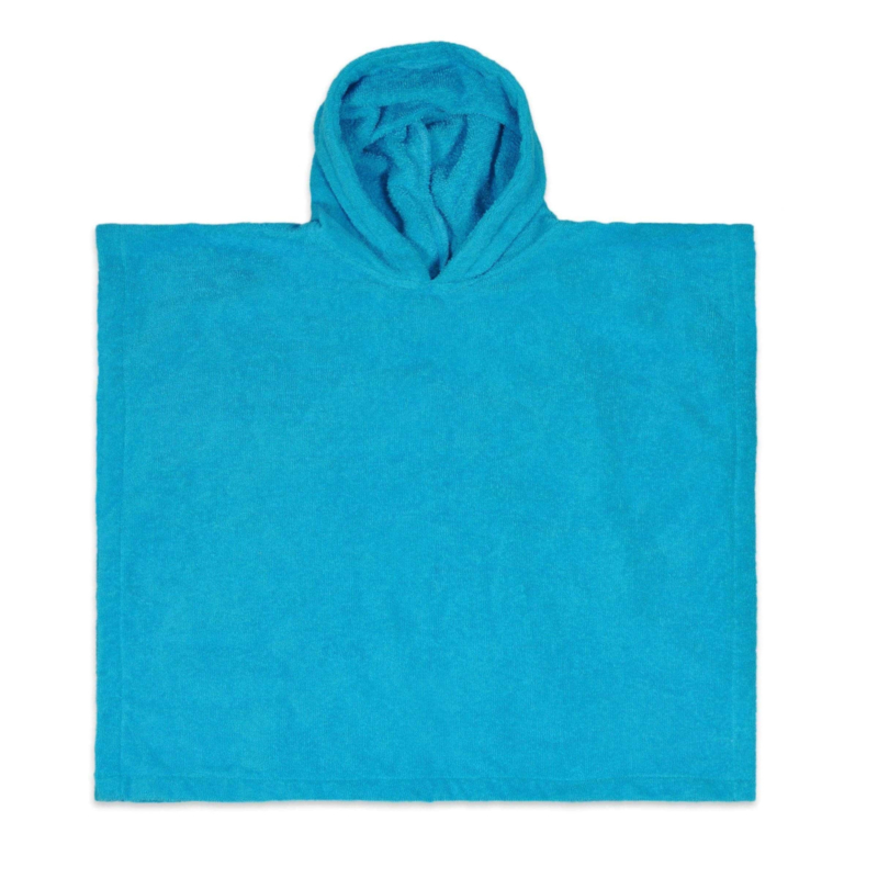 Poncho in badstof, 2-5j, turquoise, met of zonder naamborduring
