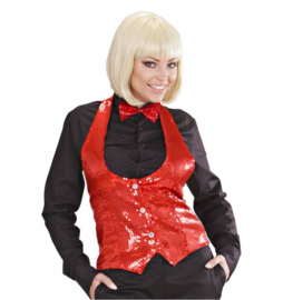 Toppers rood glitter gilet