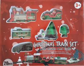 20 delige kerst treinset met licht en geluid