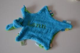 Speendoekje blauw/groen geborduurd