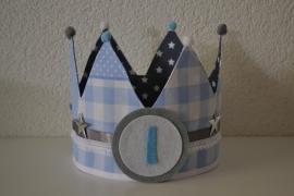 Verjaardagskroon patchwork blauw - grijze ster