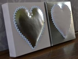3D bord zilver - roze 20x20