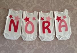 Geboorte romperlijn Nora (4 letters)