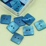 Buttons - Mother of Pearl - square - blue - 15 mm