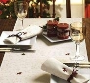 Loper - Kerst - off white - Table runner Merry Christmas - off white