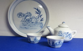 Miniature  Delft Blue Tea Set - 3