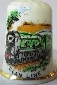 Vingerhoed - 034 - porselein - trein - Clan line - Thimble - bone china - train