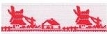 Lint met molen - rood - 15 mm - Ribbon with windmill - red
